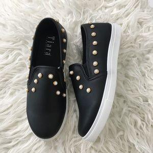 Black pearl studded slip on